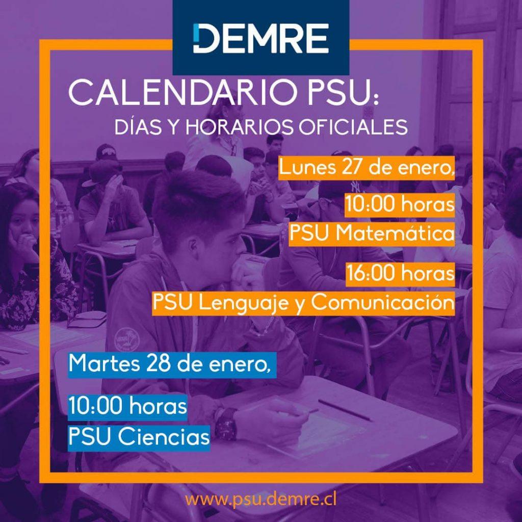 Nuevos horarios PSU