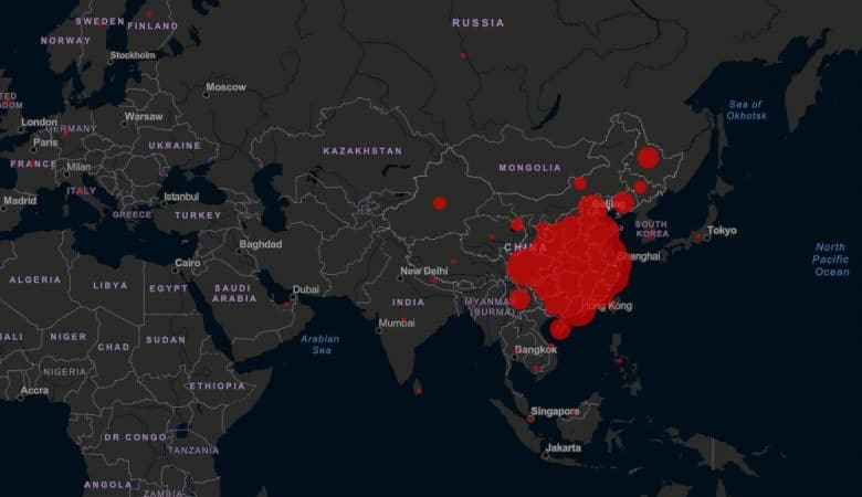 Foto de mapa con enfermedad de coronavirus