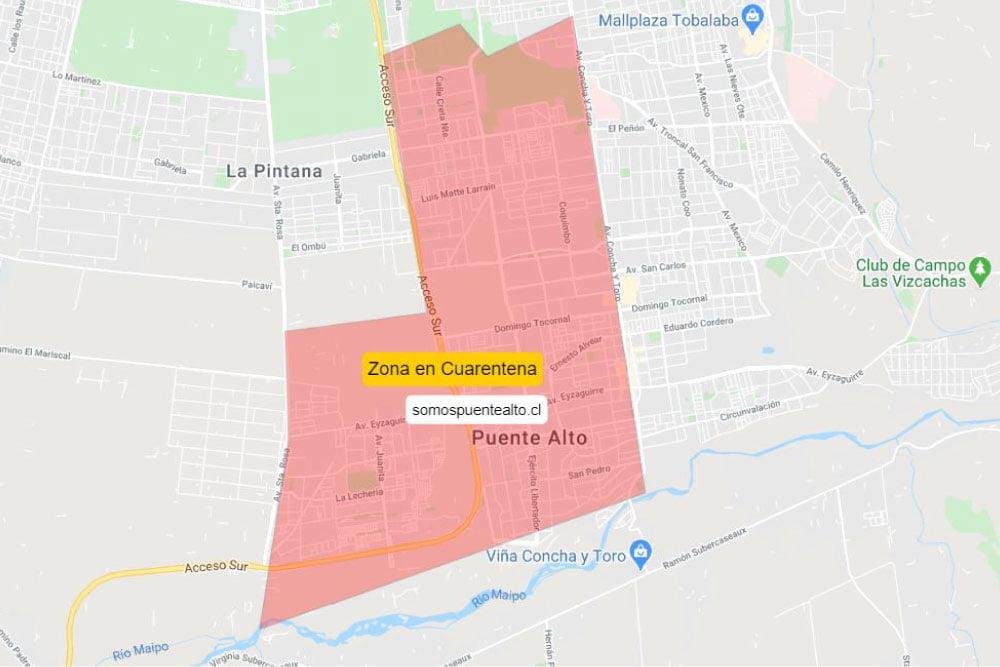 Mapa Cuarentena Puente Alto