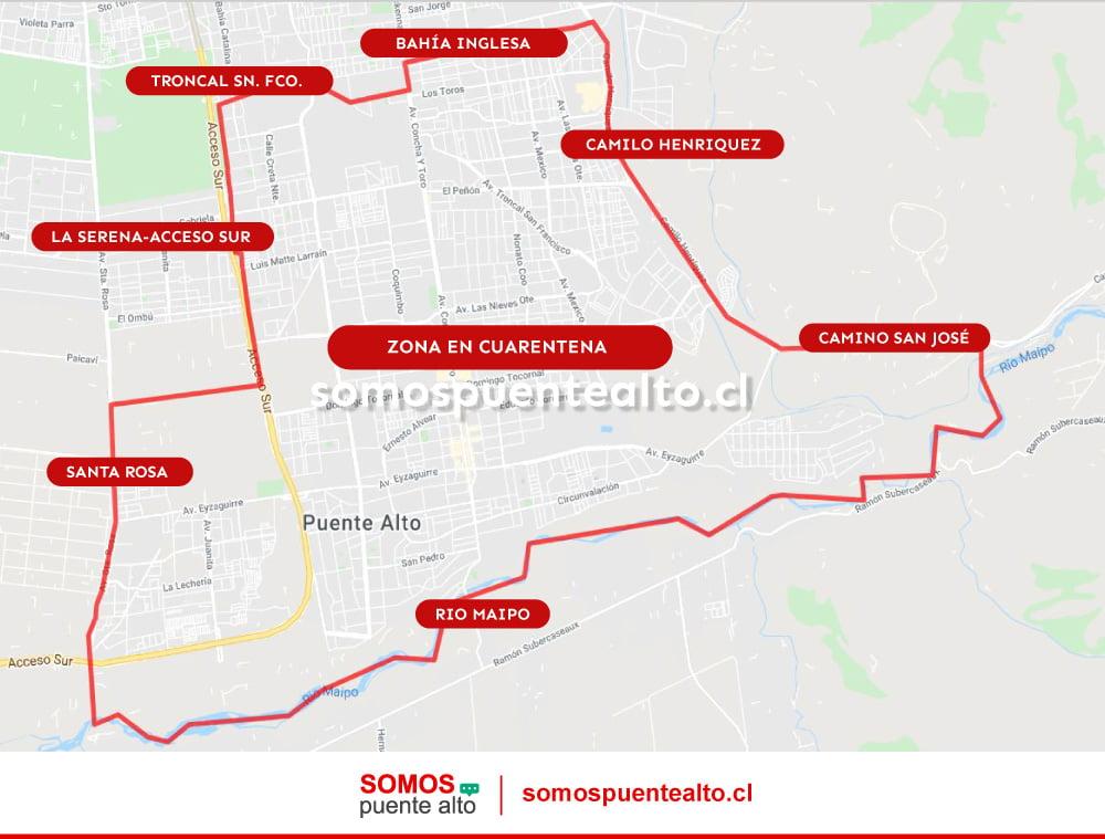 Mapa de Cuarentena en Puente Alto