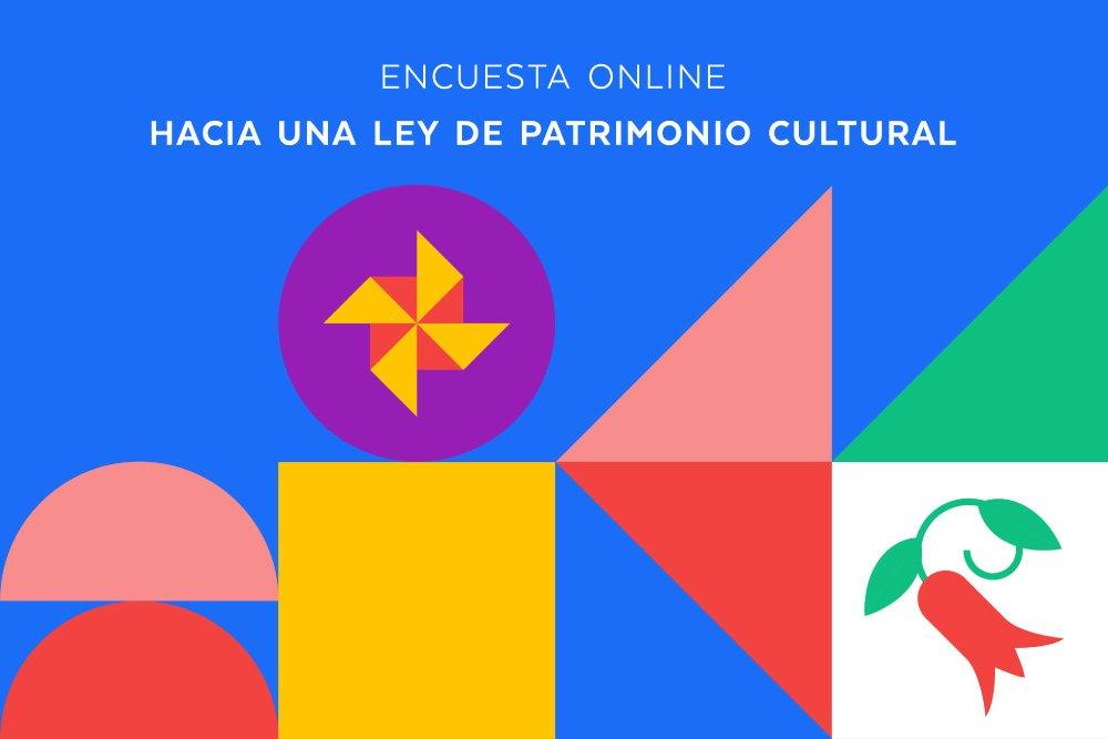 Diseño de colores con el texto: encuesta de ministerio de las culturas
