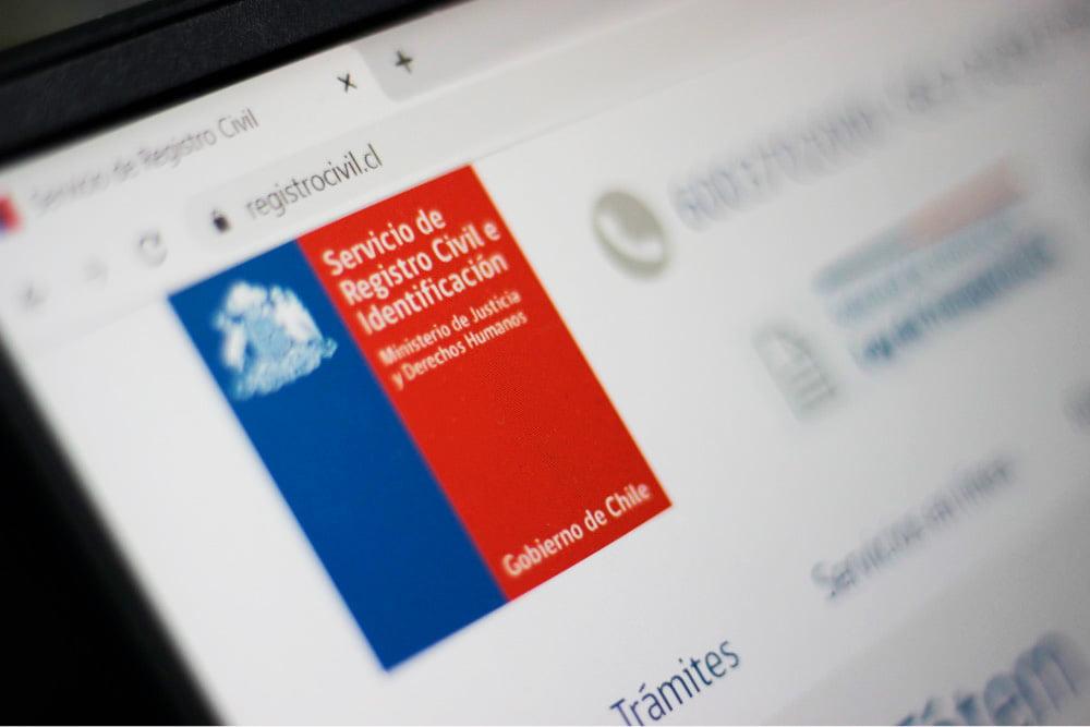 Foto de pagina web del registro civil
