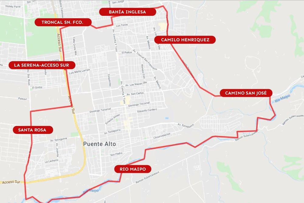 Mapa Cuarentena en Puente Alto